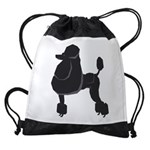 Black Poodle Drawstring Bag