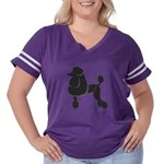 Black Poodle Women's Plus Size Football T-Shirt