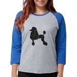 Black Poodle Womens Baseball Tee