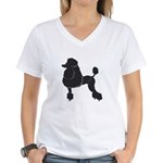 Black Poodle Women's V-Neck T-Shirt