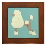 Poodle Blonde Blue Framed Tile