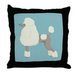 Poodle Blonde Blue Throw Pillow