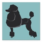 "Black Poodle Square Car Magnet 3"" x 3"""