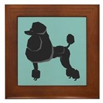 Black Poodle Framed Tile
