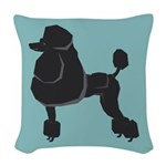 Black Poodle Woven Throw Pillow