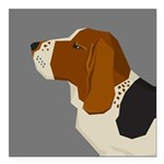 "Basset Hound Profile Square Car Magnet 3"" x 3"""