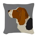 Basset Hound Profile Woven Throw Pillow