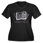 read global Women's Plus Size V-Neck Dark T-Shirt