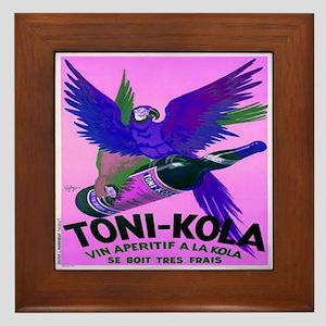 Blue Parrot Vintage Poster Framed Tile