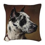 Vintage Great Dane Portrait Woven Throw Pillow