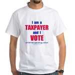 Taxpayer says STOP! 2-sided White T-Shirt