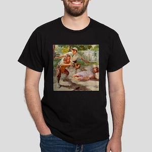 Vintage Children Play Baseball Dark T-Shirt
