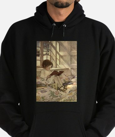 Vintage Books in Winter, Child Reading Hoodie