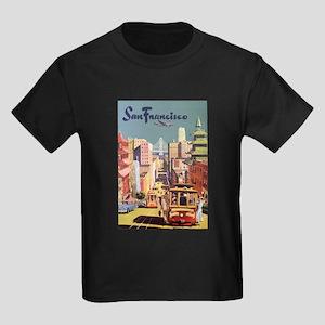 Vintage Travel Poster San Francisco Kids Dark T-Sh