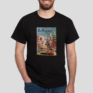 Vintage Travel Poster San Francisco Dark T-Shirt
