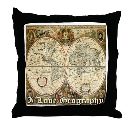 I Love Geography Throw Pillow