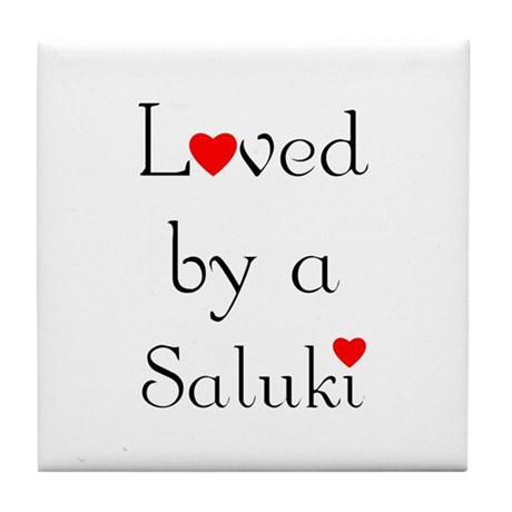 Loved by a Saluki Tile Coaster