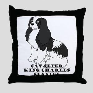 CKC Spaniel (Blk&Wht) Throw Pillow