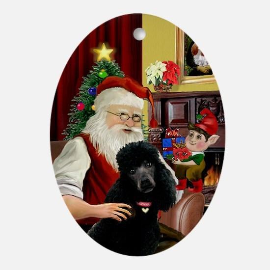 Santa & His Black Standard Poodle Oval Ornament