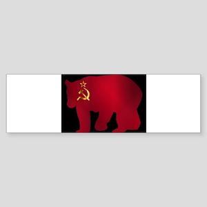 Large Russian Bear Silhouette On Fl Bumper Sticker