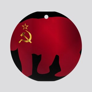 Large Russian Bear Silhouette On Fl Round Ornament