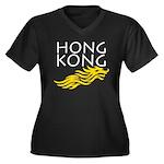 Hong Kong Dark Women's Plus Size V-Neck Dark T-Shi