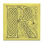 Celtic Letter R Tile Coaster