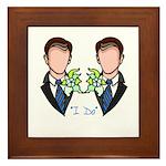Gay Wedding Grooms Framed Tile