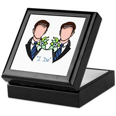 Gay Wedding Grooms Keepsake Box
