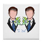 Gay Wedding Grooms Tile Coaster