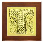 Celtic Letter T Framed Tile