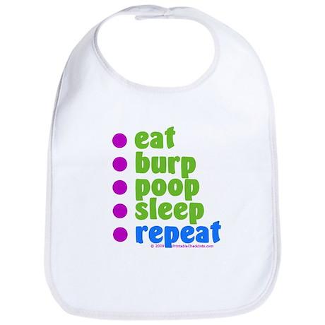 Eat Burp Poop Sleep Repeat Baby Bib