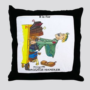 funny airport baggage handler Throw Pillow