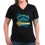 Visit Oklahoma Women's V-Neck Dark T-Shirt