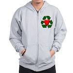 Recycle Heart Zip Hoodie