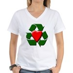 Recycle Heart Women's V-Neck T-Shirt