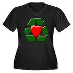 Recycle Heart Women's Plus Size V-Neck Dark T-Shir