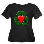 Recycle Heart Women's Plus Size Scoop Neck Dark T-