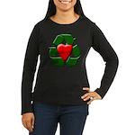 Recycle Heart Women's Long Sleeve Dark T-Shirt