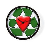 Recycle Heart Wall Clock