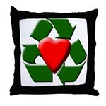 Recycle Heart Throw Pillow