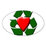 Recycle Heart Oval Sticker