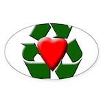 Recycle Heart Oval Sticker (10 pk)