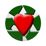 Recycle Heart Ornament (Round)
