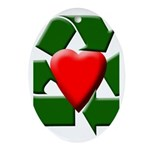 Recycle Heart Oval Ornament