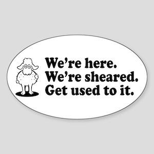 Here & Sheared Oval Sticker