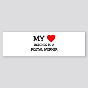 My Heart Belongs To A POSTAL WORKER Sticker (Bumpe