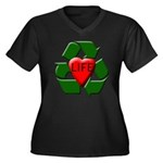 Recycle Life Women's Plus Size V-Neck Dark T-Shirt