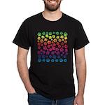Rainbow Cat Tracks Pawprints on Black T-Shirt