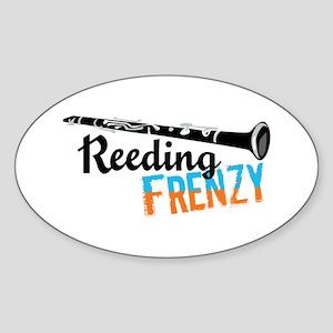 Clarinet Reeding Frenzy Oval Sticker